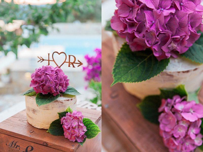 Rustic Cake with Lilac Hydrangeas