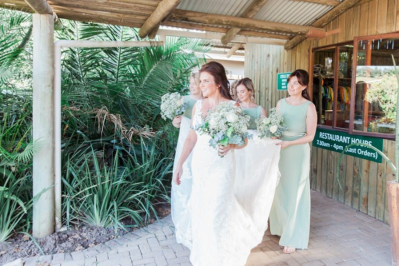 Bride and Bridesmaids Enroute to Her Pistachio and White Wedding