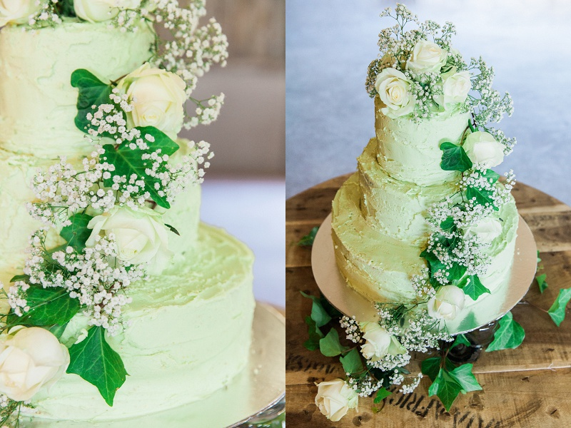 Pistachio and White Rose Cake with Ivy Details