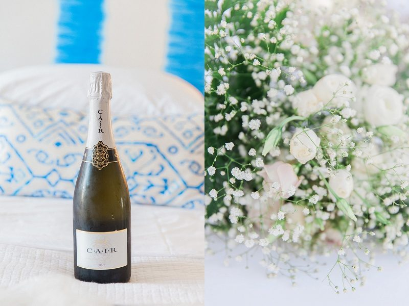 Champagne and Bridal Bouquet At Mystical Blue in Santorini