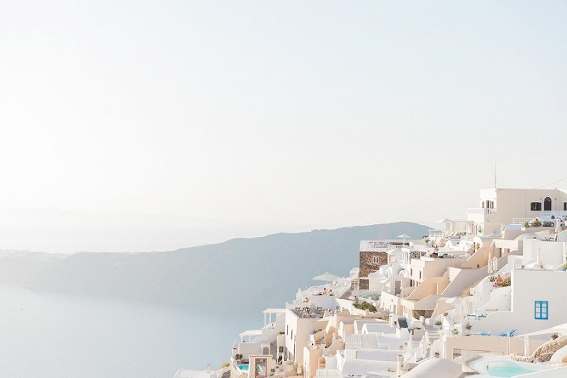 Beautiful Hazy View Over Fira Santorini