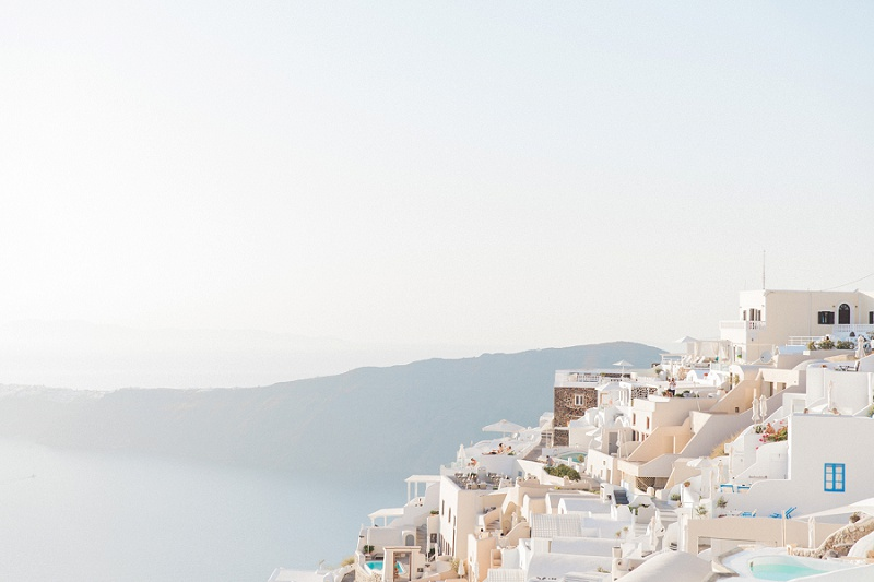 Beautiful Hazy View Over Fira Santorini