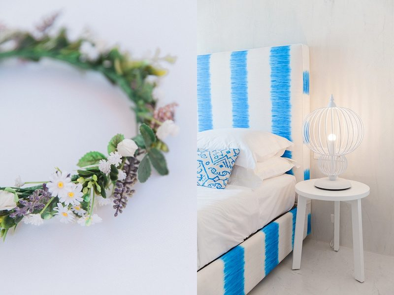 Flower Crown and Bridal Suite and Mystical Blue in Santorini