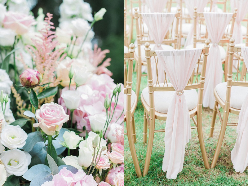 Close up of Flowers and chairs for Gracia and Ravi's ceremony at their Wedding at Warren House