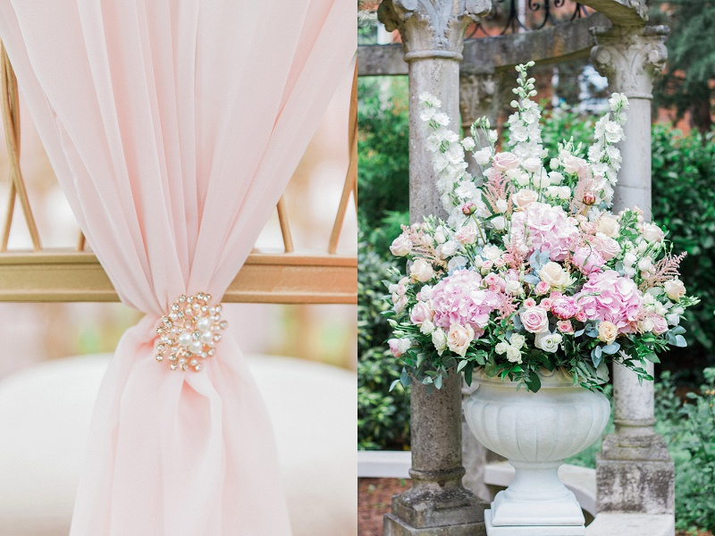 Close up blush chair ties and Flowers for Gracia and Ravi's ceremony at their Wedding at Warren House