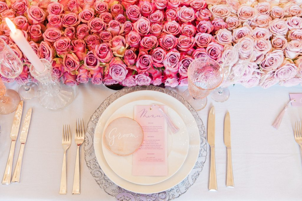 Pink ombre table setting styled by Pearline Events with rose quartz slices, pastel stationery and flowers by Queen Of Hearts Floral Design