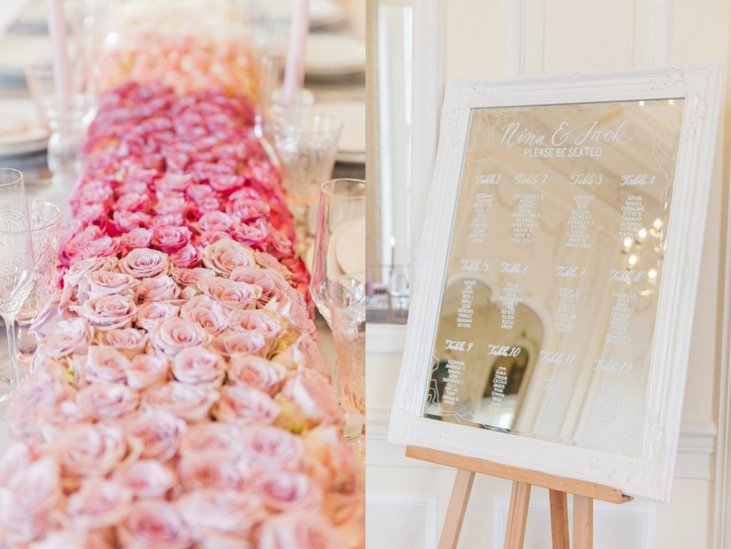 Pink ombre floral table runner by Queen Of Hearts Floral Design and a mirrored seating plan by Scritto