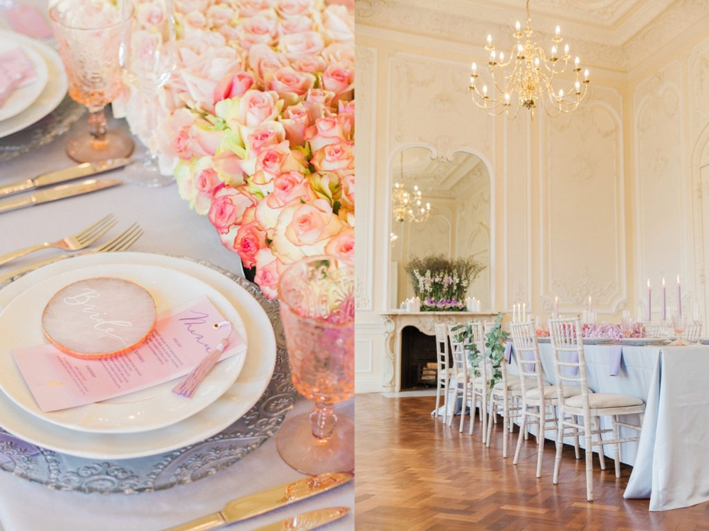 Brides table setting and a view of the wedding table at 10-11 Carlton House Terrace