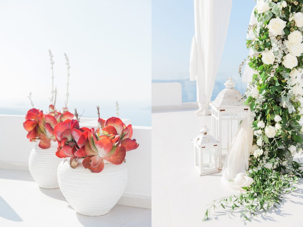 Potted red succulents and wedding arch details at Dana Villas Santorini