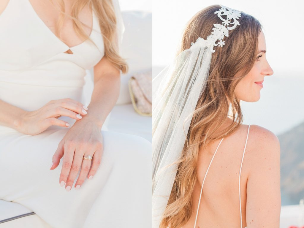 Brides details showing her ring and the lace of her veil