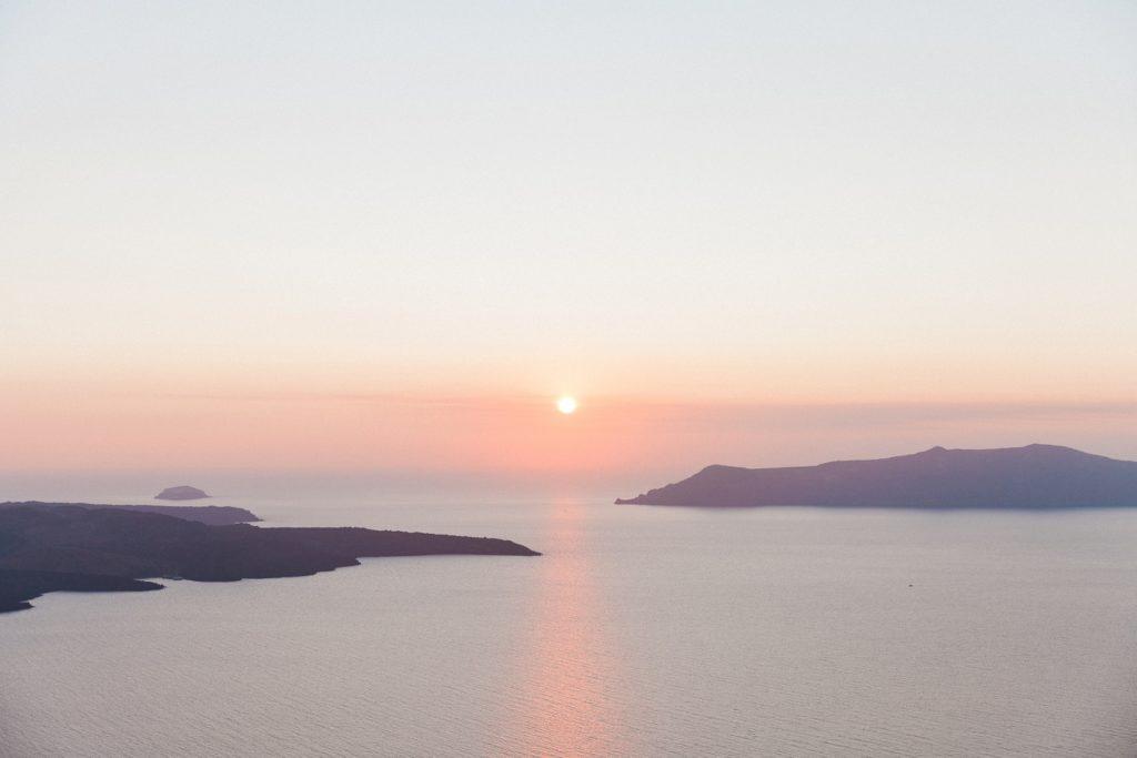 Sunset view from Dana Villas Santorini elopement and wedding venue