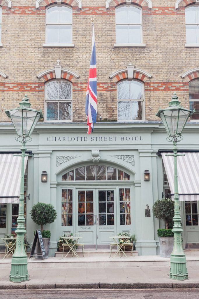 The beautiful facade of the Charlotte Street Hotel in London