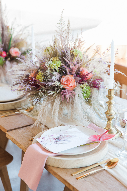 Luxury boho wedding table setting at Crystal Waters Lefkada in Greece