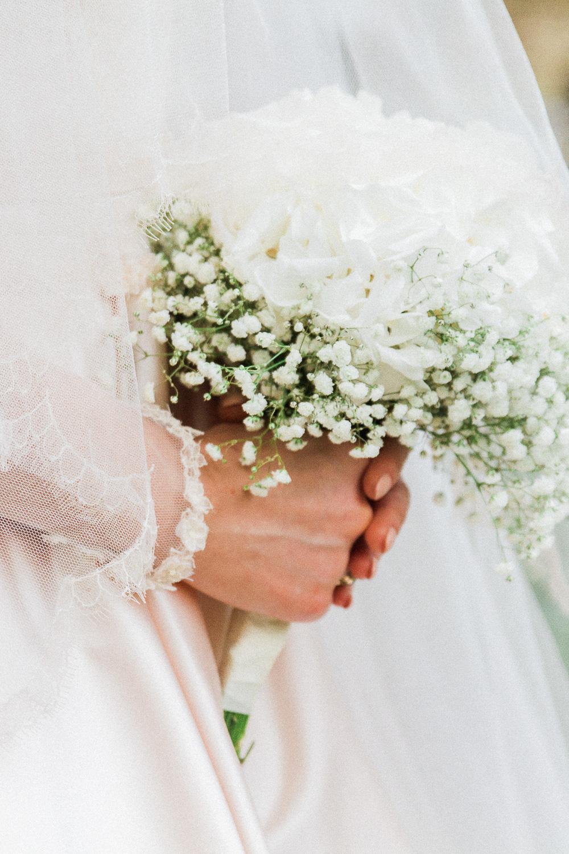 Bride's white hydrangea and baby's breath bouquet