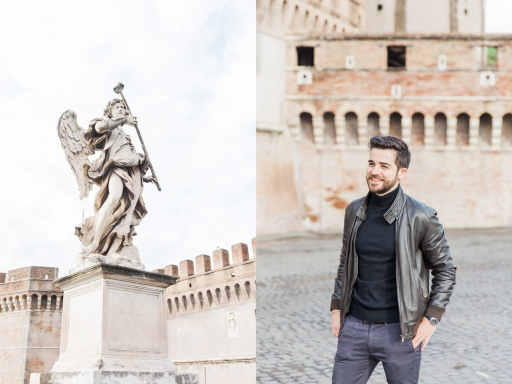 Portrait of an Italian man in Rome and an angel statue