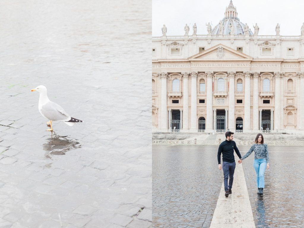 Couple hold hands as they walk away from St. Peter's Basilica in Rome