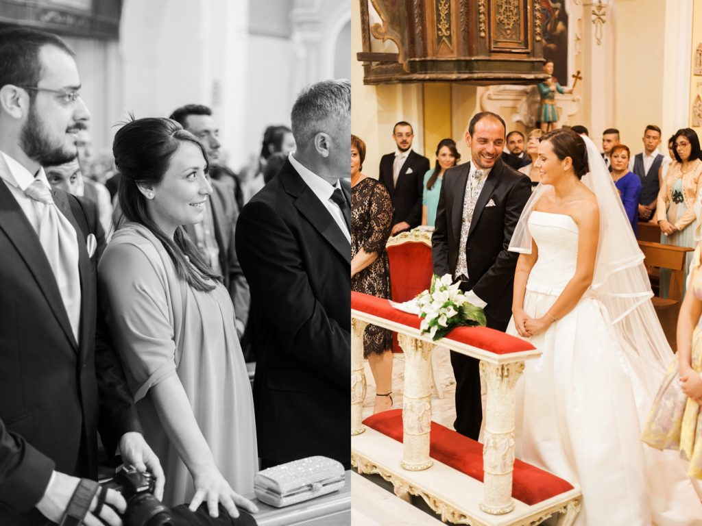 Happy couple and their guests during their wedding ceremony in Apulia
