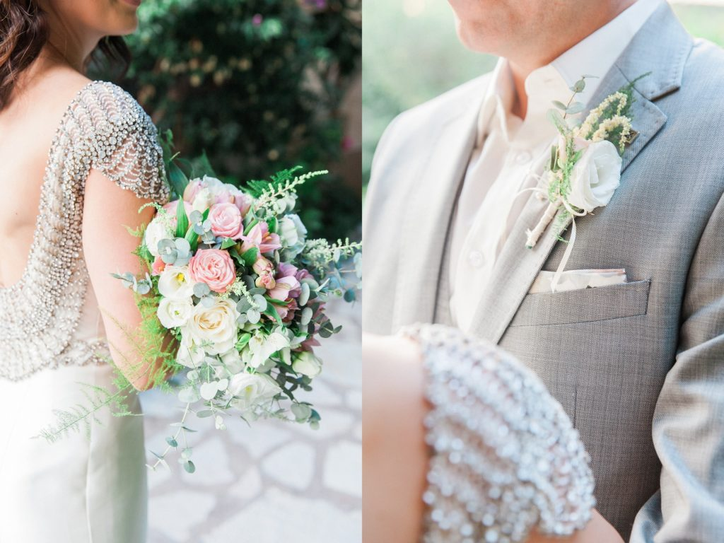 Brides sparkling capped sleeves on her Rosa Clara wedding dress and the grooms white buttonhole