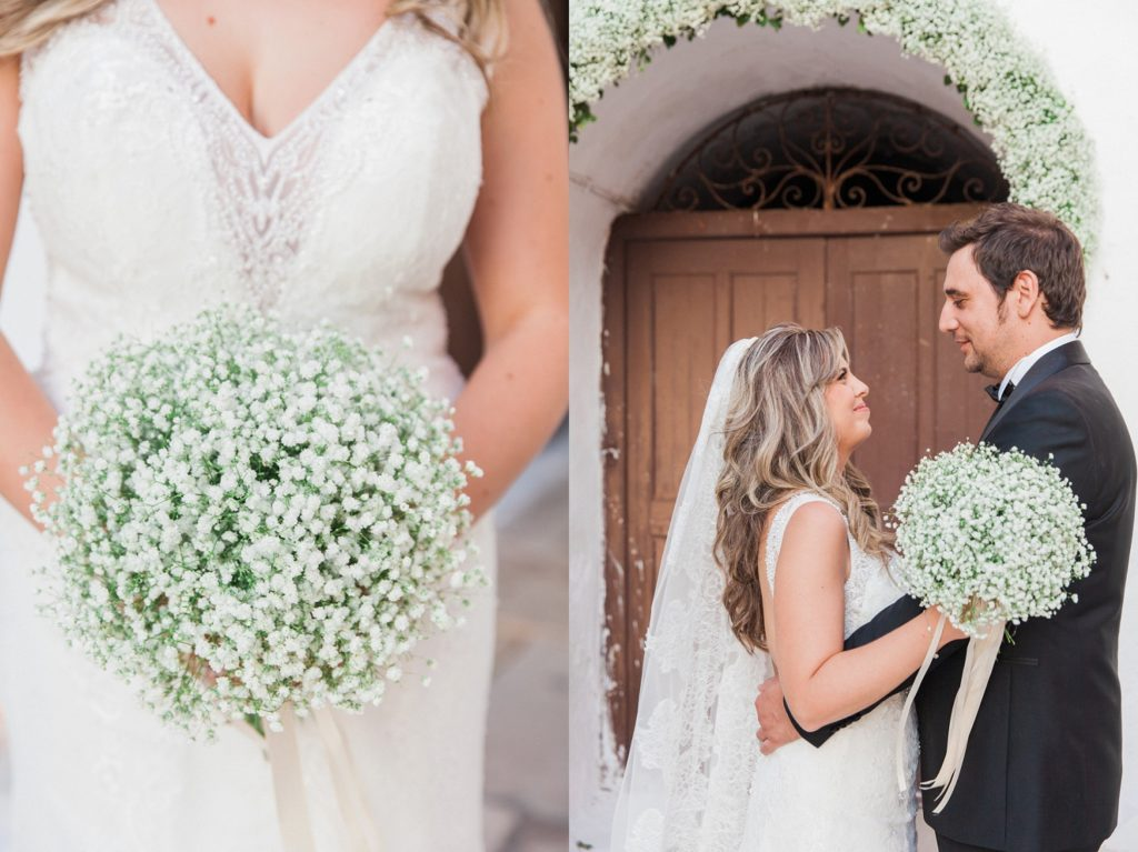 Portrait of a couple and the brides gypsophila bouquet in front of the church inside the Santa Maura Castle in Lefkada