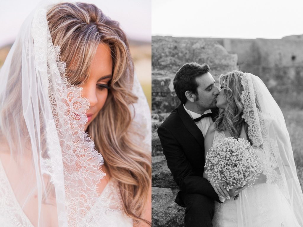Portrait of a couple kissing and the details of the brides veil in the grounds of Santa Maura Castle in Lefkada