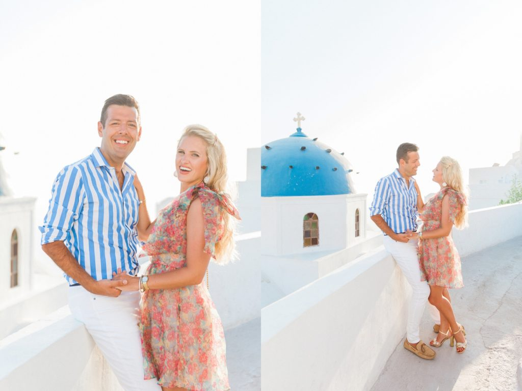 Sunset portraits of a couple in front of a Greek church on Santorini