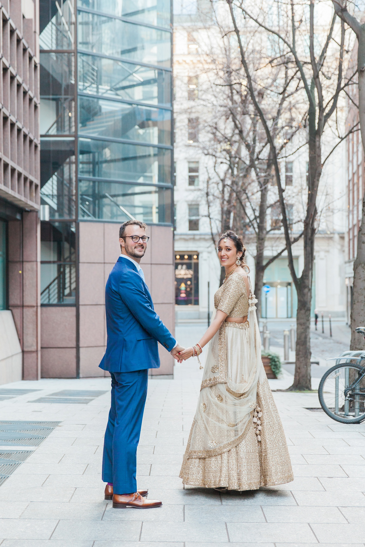 Jewish groom and Indian bride during their South Place Hotel wedding in London
