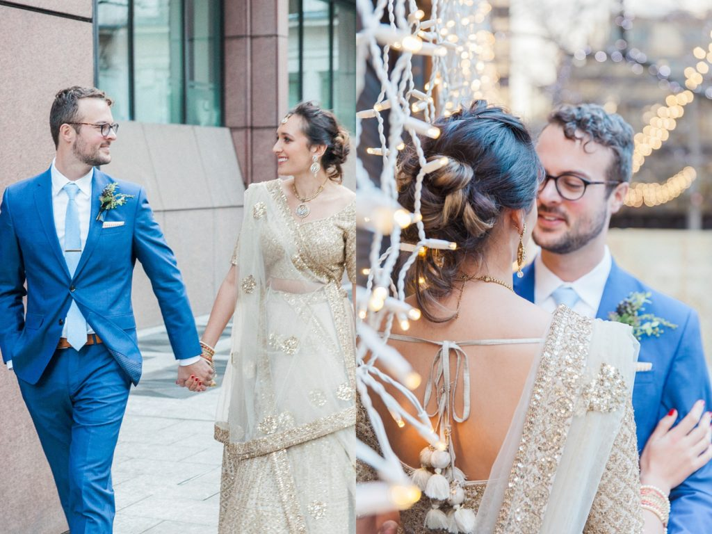 Jewish groom and Indian bride on the streets of London