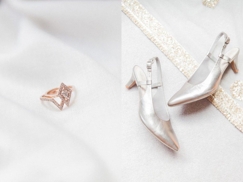 Indian brides geometric diamond ring and gold wedding heels