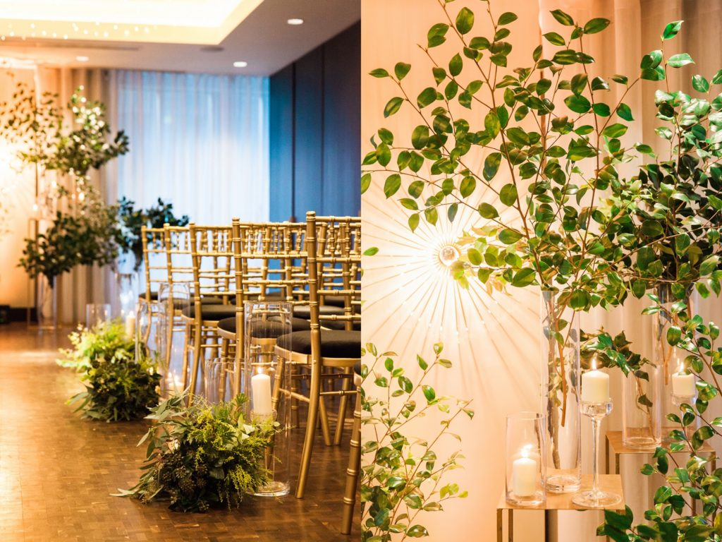 Foliage and candle details at a South Place Hotel wedding in London