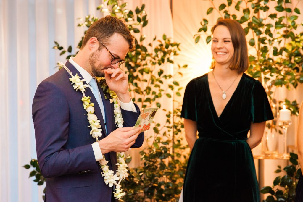 Groom tears up while exchanging vows during his London wedding