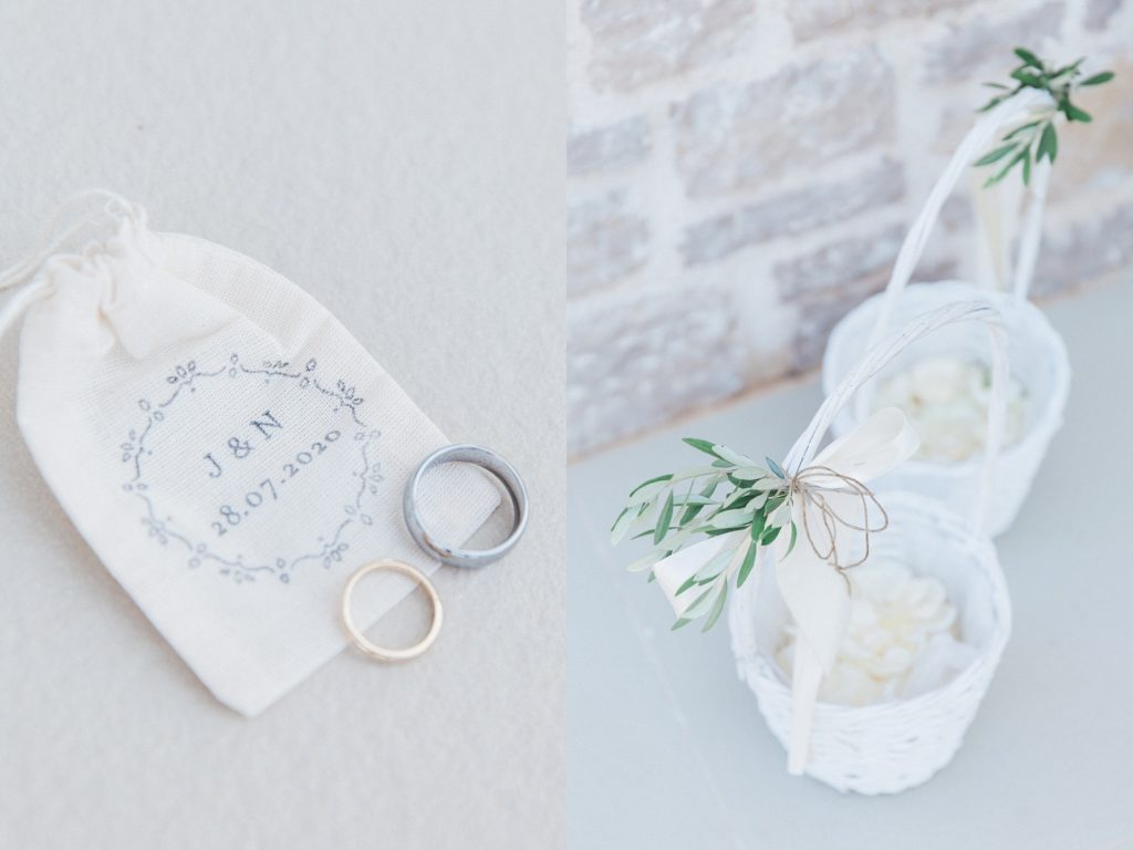 Couples wedding bands and flower girls confetti baskets