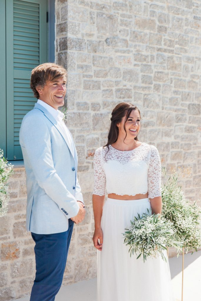 Happy couple during their elopement ceremony