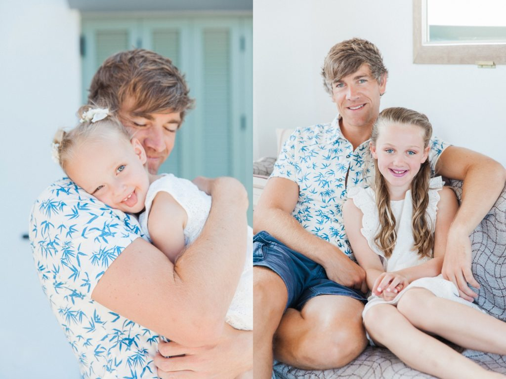 Groom with his daughters on the morning of his villa elopement in Greece