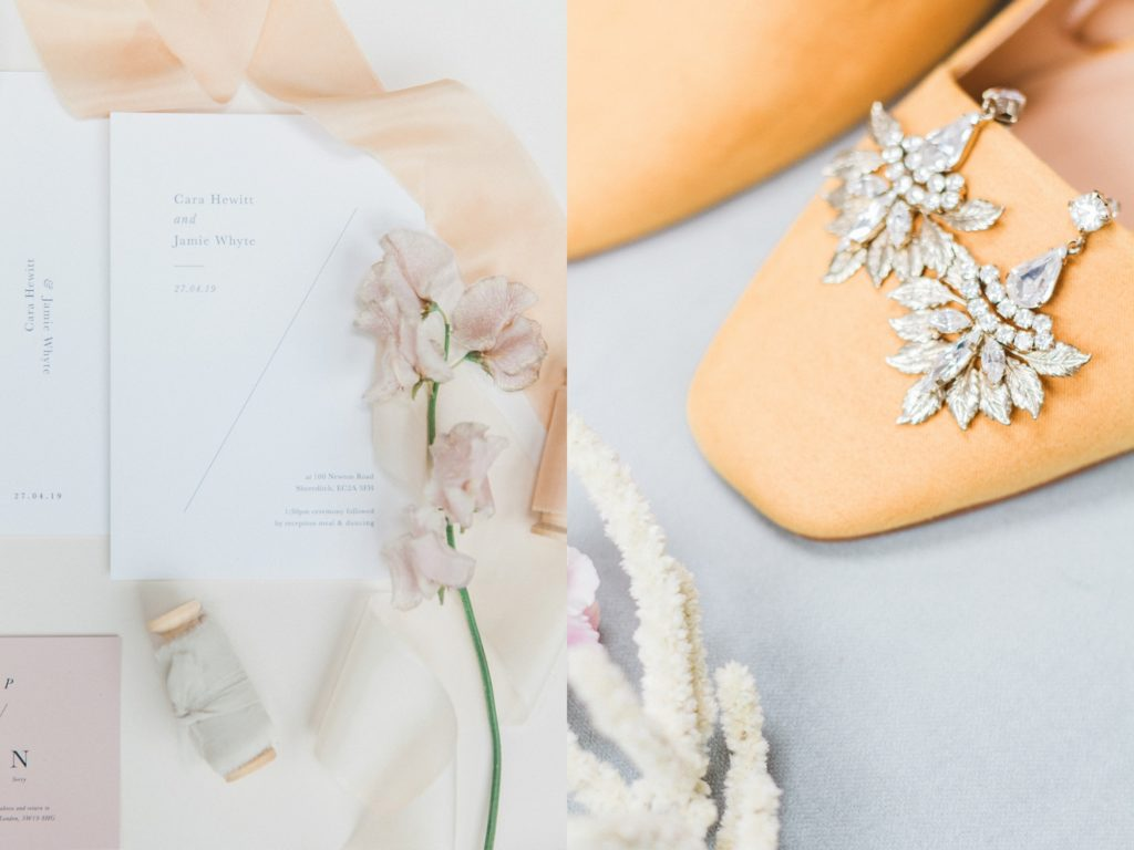 Spring wedding details including antique earrings, yellow wedding shoes, pastel wedding stationery and silk ribbons