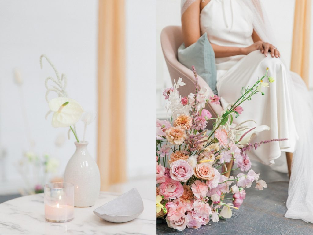 Hanging silks and colourful spring wedding flower arrangements