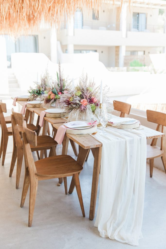 Boho wedding table on the restaurant balcony of Crystal Waters Lefkada