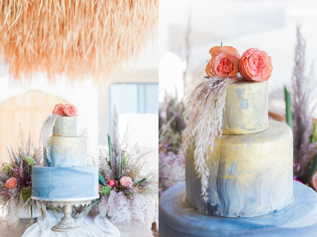 Gold and blue watercolour wedding cake at Crystal Waters Lefkada