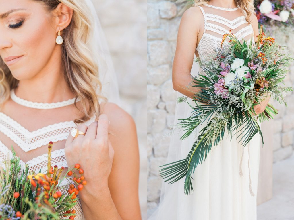 Bride shows off her wedding jewellery and boho bridal bouquet at Crystal Waters Lefkada