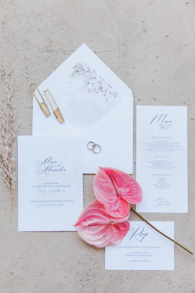 Pastel boho wedding stationery designed by Ink Drops