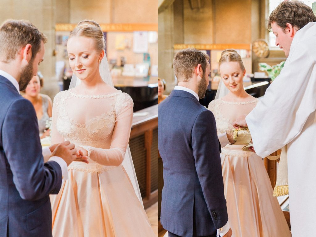 Bride and groom exchange rings and are blessed by the pastor during their English church wedding