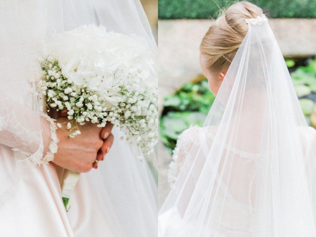 Detail portraits of the brides bouquet and veil