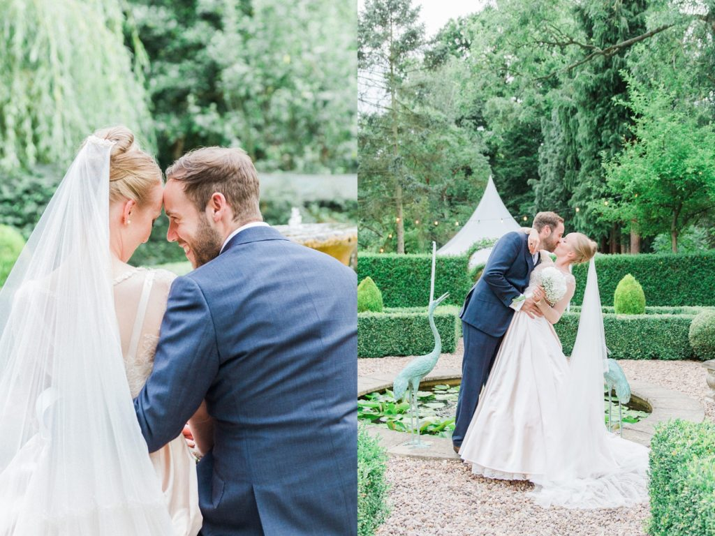 Romantic portaits of a couple in the garden on their wedding day