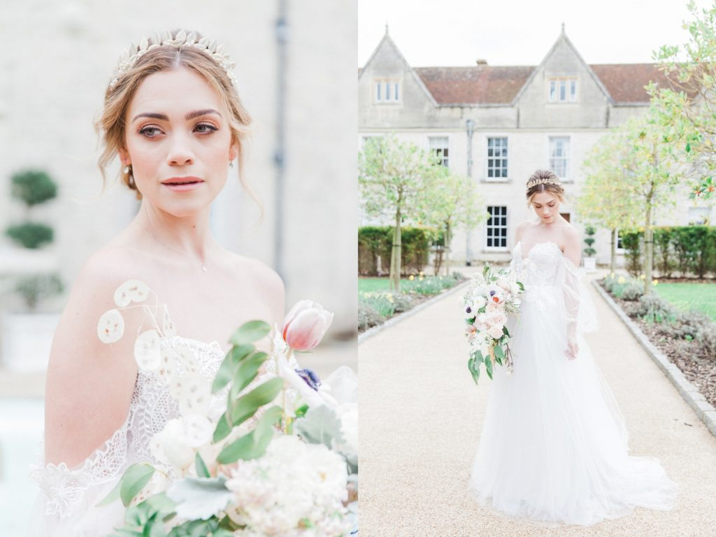 Portraits of a bride in front of Froyle Park Country Estate in Hampshire