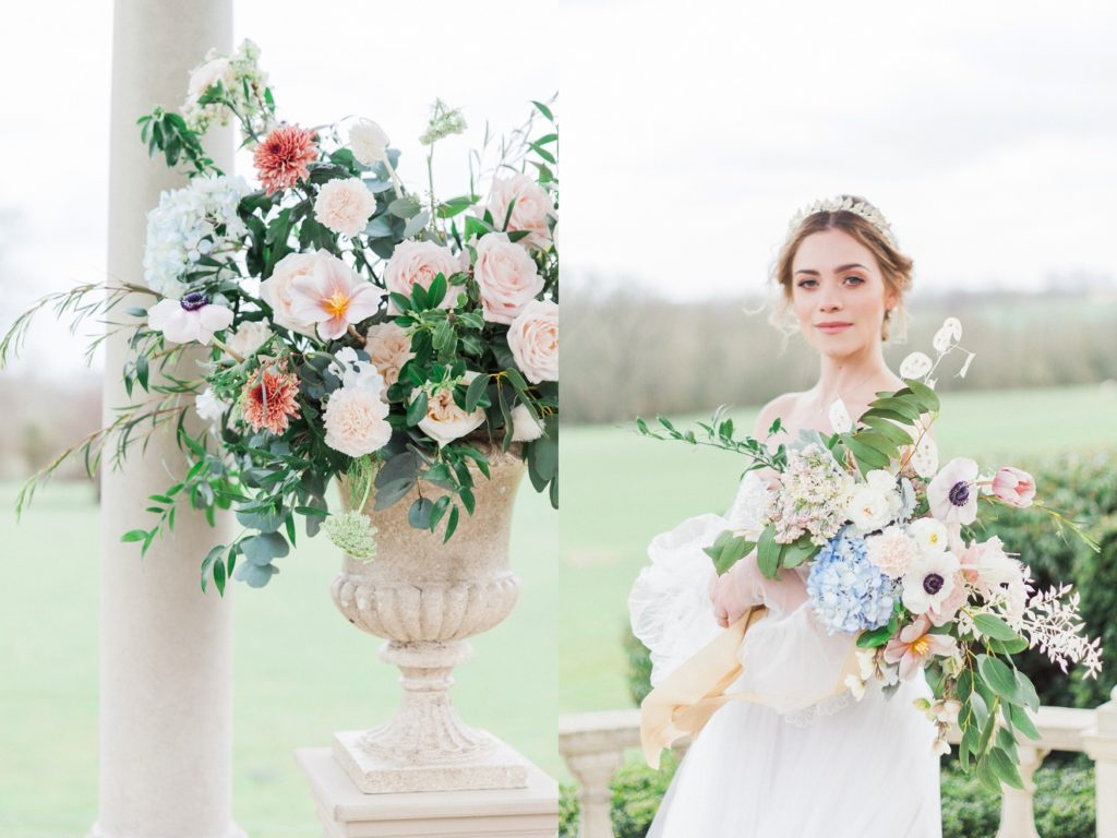Beatrix Potter inspired flower arrangement and bouquet at Froyle Park in Hampshire.