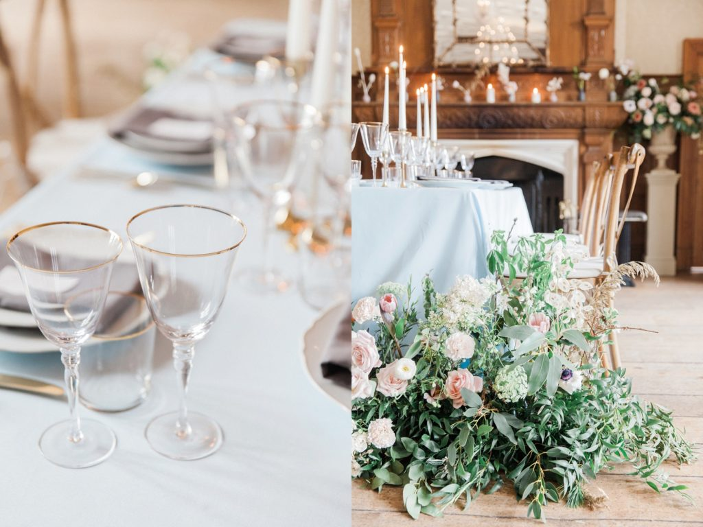 Elegant pastel table decor with gold detailing and wild flowers