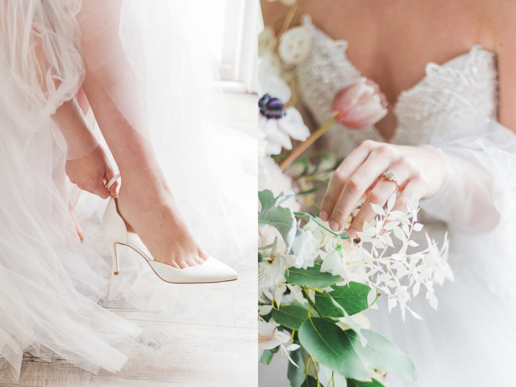 Ivory Harriet Wilde wedding shoes and a grey diamond ring by Lilia Nash Jewellery