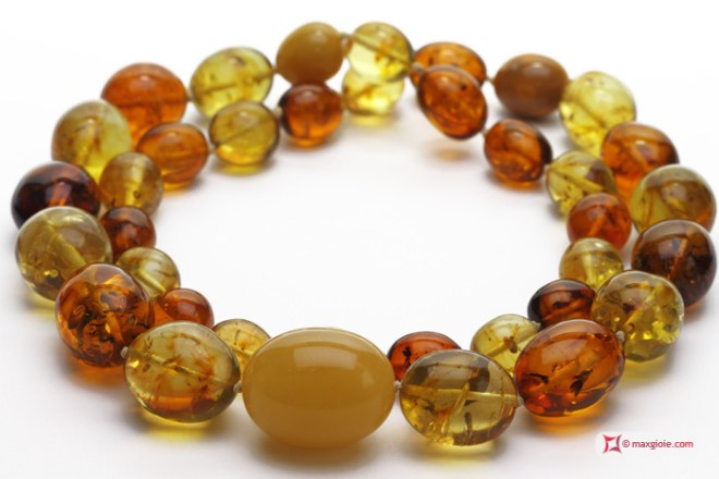 TOP Amber Necklace multicolor 13x16-25x32mm graduated olive in Gold 18K