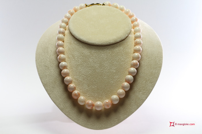 Extra Pink Coral Necklace 12-13mm in Gold 18K