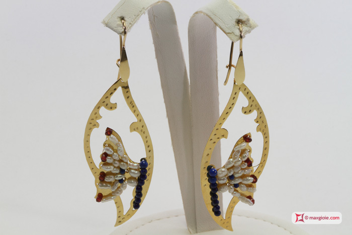 Leaf with Butterfly Earrings [Pearls, Lapis, Garnet] in Gold Plated Silver