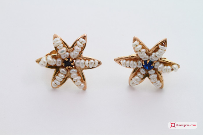 Star Earrings [Pearls, Sapphire] in Gold Plated Silver
